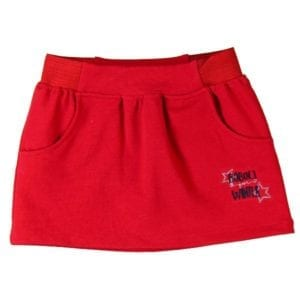image of red winter stretch skirt with two front pockets
