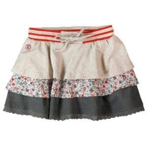 image of girls natural, floral and grey layered ruffle skirt
