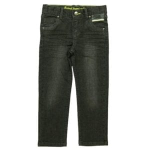 image of boys black denim stretch jeans with boboli urban jeans text printed on the back right pocket