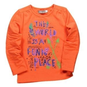 image of organge long sleeve girl tee printed with words the world is a funny place and native american symbols