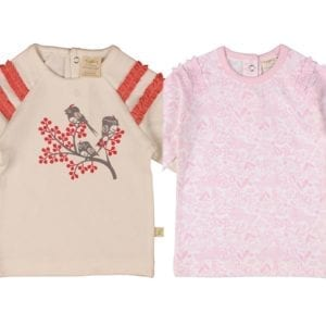 image of ruffle t-shirts little bird and pink mellow floral organic cotton