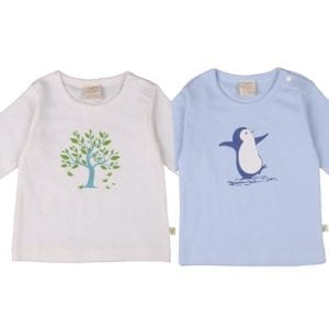image of organic cotton long sleeve t-shirts in penguin print and tree print