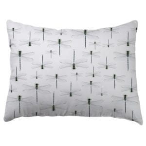 image of dragonfly repeated print on white pillowcase