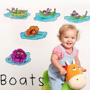 image of illustrated lily pads floating on water with little boys and girls sitting on them