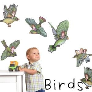 image of wall decals of illustrated children flying on the backs of illustrated birds