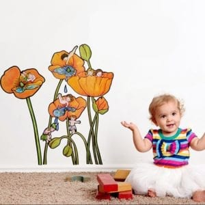 image of illustrated boys and girls sitting on poppy flowers wall decals