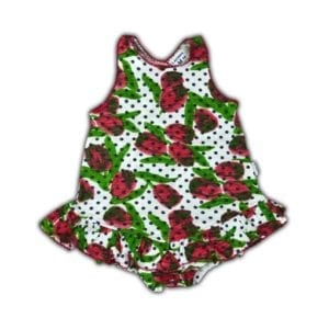 image of baby girl romper with frill dress overlay printed with tulip and dots design onto white cotton lycra fabric