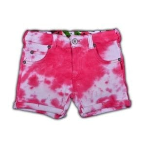images of girls shorts with fuchsia wash colour look and jean-like 5 pocket styling.