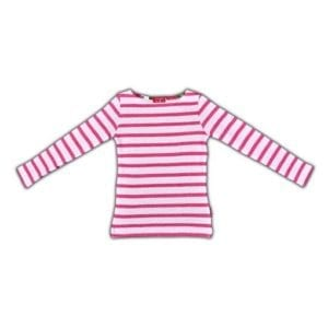 image of a Girls Boat Neck Top - Fuchsia and White stripes