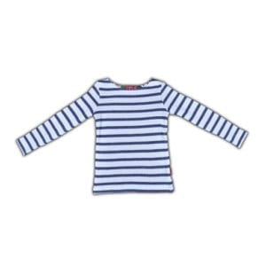 image of Girls boat neck T-shirt - navy and white stripes - long sleeves and longer length in soft cotton