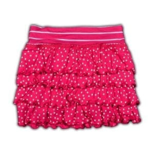 image of Girls Ruffle Skirt Fuchsia colour with White polka dots over skirt and white stripes on waistband