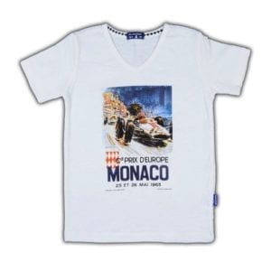 image of Boys Tee with photo of a racing car from the 1964 'Grand Prix D'Europe' printed on the front