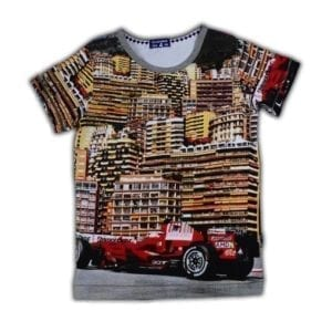 image of boys t-shirt with overall car racing print of Monaco in 1964
