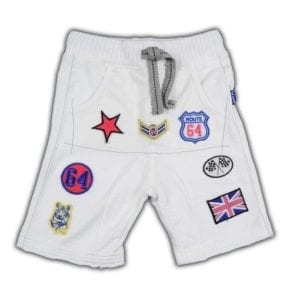 image of boys shorts with embroidered car racing emblems on the front. Fabric is white stretch terry cotton.