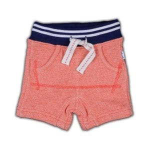 image of baby boy shorts in orange-red marl cotton with navy and white strip waistband.