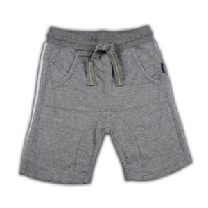 image of boys grey malee shorts with front pockets and tie waist