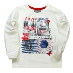 image of girls long sleeve top with graphic designed bring on the front. Text says love everybody, you are beautiful, forget it, just keep going, let everything happen to you. Top is neutral cream with red black and blue highlights on tonal images of girls fashion.