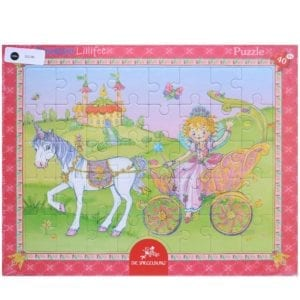 image of jigsaw puzzle of white horse and fairy princess seated in an open carriage on her way to the castle built on green fields.