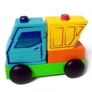 wooden puzzle stacking truck
