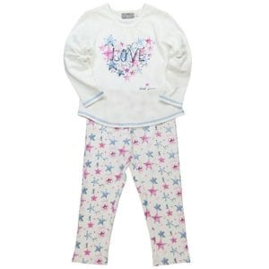 Natural white cotton fabric with blue and pink stars printed all over the pants. The top features star and love graphic on the front.
