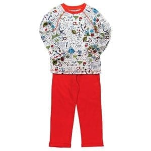 stretch cotton pyjamas long red pants and long sleeve white top with science theme icons all over print - image front view
