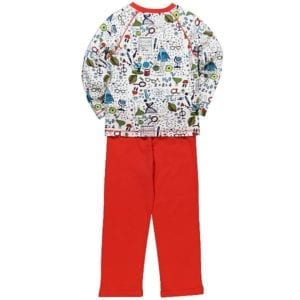 Girls science icon Cotton pyjamas has overall science theme print top and plain red pants - image rear view