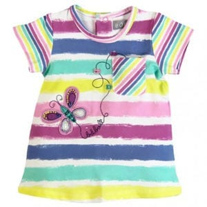 baby girls stripe dress with butterfly print on the front - product image