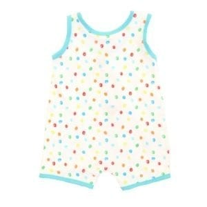 baby boys playsuit is white with overall multicoloured spots and giraffe appliqué on the front - back view