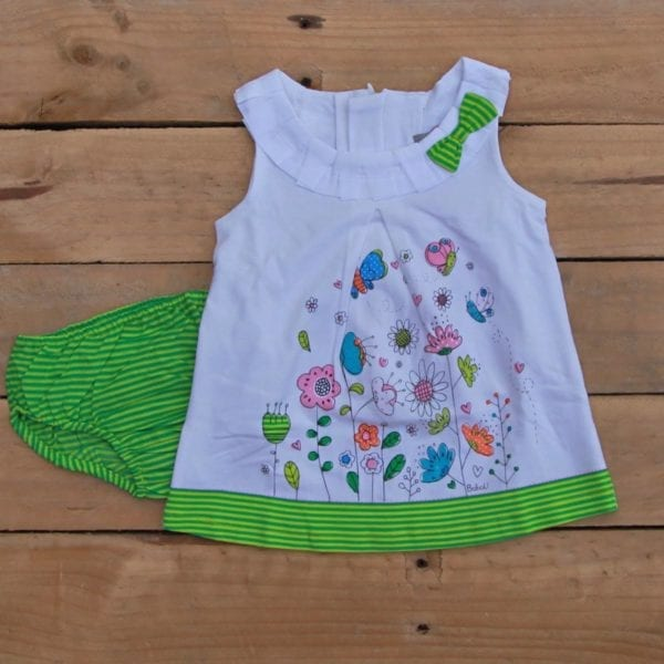 baby girls dress green-white stripes - product image front
