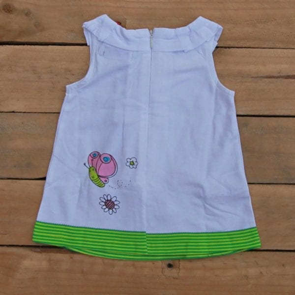 baby girls dress white-green stripes - product image back view