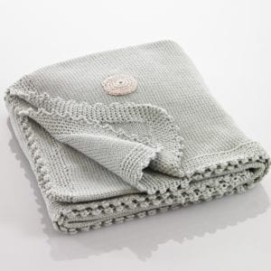 hand knitted organic cotton blanket in soft teal colour - product image