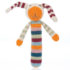 floppy ears and a smiley face on top of a stick shaped soft rattle organic cotton toy hand made crochet in multi coloured stripes - product image