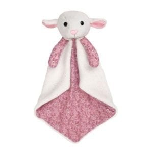 call it a blankie or comforter, it's a soft white little lamb head with pink print lining - product image shown without packaging