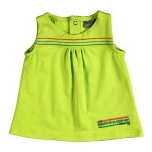 baby girls sleeveless cotton top - lime green - product image
