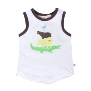 Baby boy singlet top front view of product showing animal graphics printed on white single with brown trim